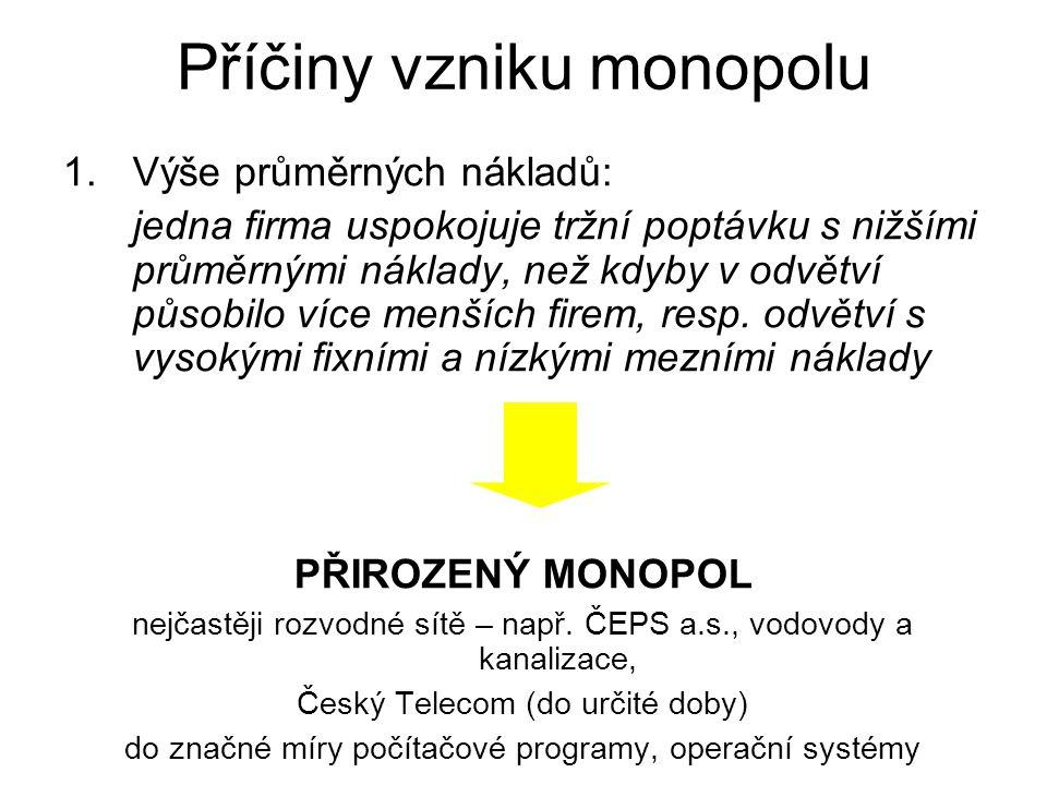 Charakteristika monopolu monopol JE jednou z forem konkurence existence JEDINÉHO subjektu na straně nabídky nepřekonatelné bariéry vstupu do odvětví m