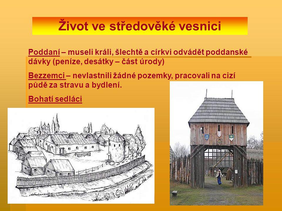 Život ve středověké vesnici Poddaní – museli králi, šlechtě a církvi odvádět poddanské dávky (peníze, desátky – část úrody) Bezzemci – nevlastnili žád