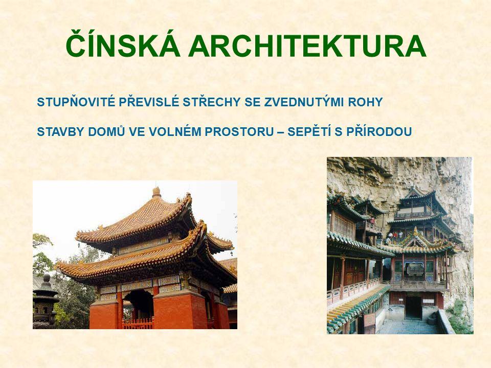 ČÍNSKÁ ARCHITEKTURA STUPŇOVITÉ PŘEVISLÉ STŘECHY SE ZVEDNUTÝMI ROHY STAVBY DOMŮ VE VOLNÉM PROSTORU – SEPĚTÍ S PŘÍRODOU