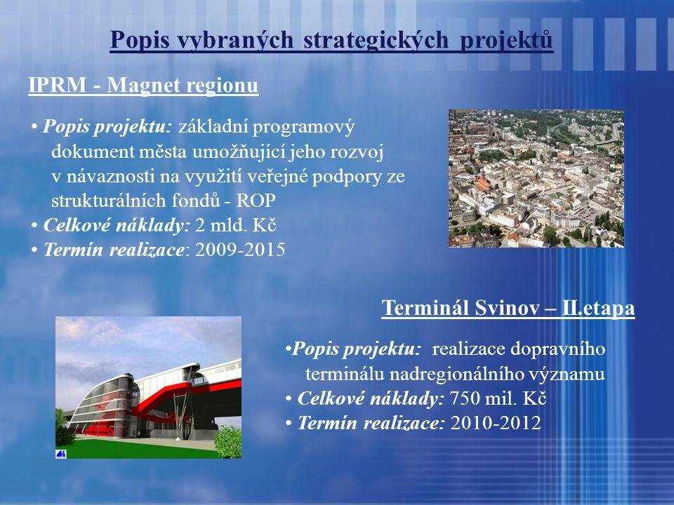 Popis vybraných strategických projektů IPRM - Magnet regionu Popis projektu: základní programový dokument města umožňující jeho rozvoj v návaznosti na využití veřejné podpory ze strukturálních fondů - ROP Celkové náklady: 2 mld.
