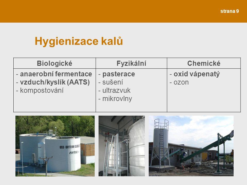 strana 9 Hygienizace kalů BiologickéFyzikálníChemické - anaerobní fermentace - vzduch/kyslík (AATS) - kompostování - pasterace - sušení - ultrazvuk -