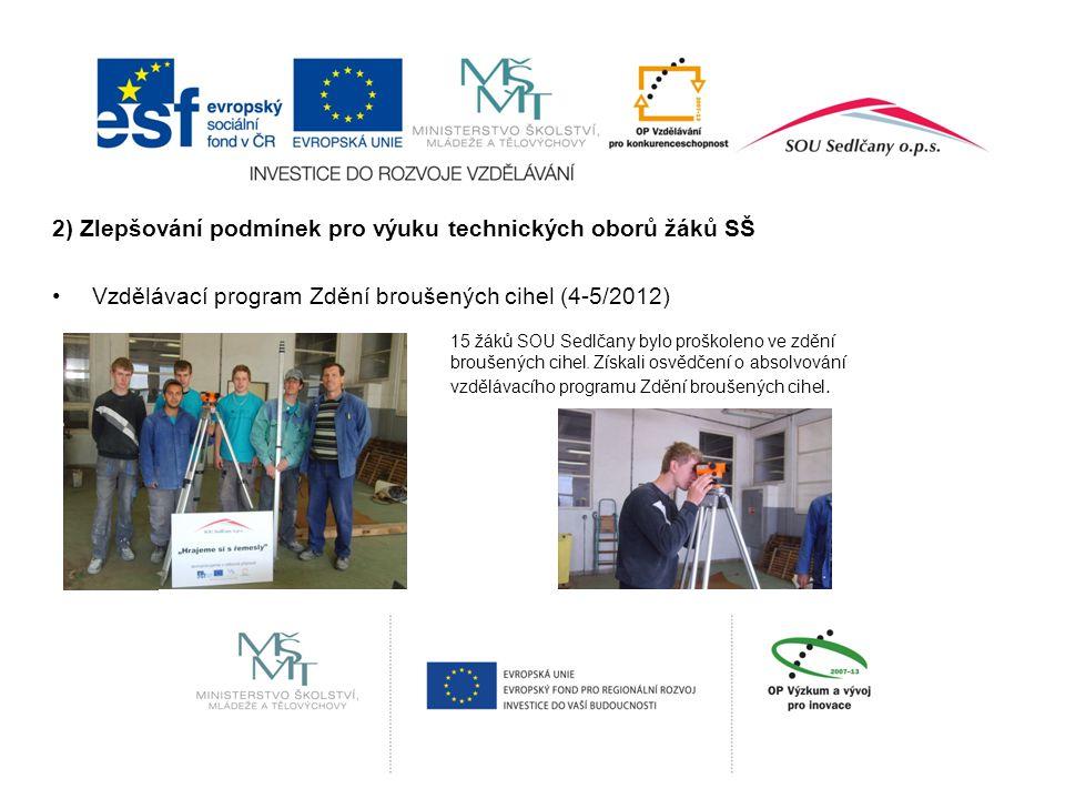2) Zlepšování podmínek pro výuku technických oborů žáků SŠ Vzdělávací program Zdění broušených cihel (4-5/2012) 15 žáků SOU Sedlčany bylo proškoleno ve zdění broušených cihel.