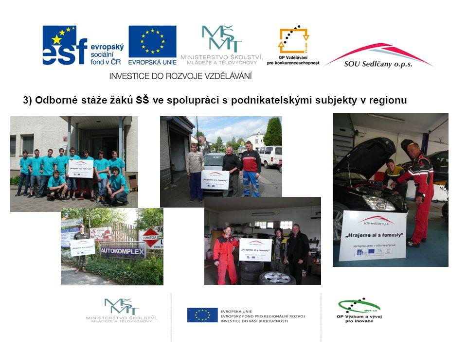 3) Odborné stáže žáků SŠ ve spolupráci s podnikatelskými subjekty v regionu