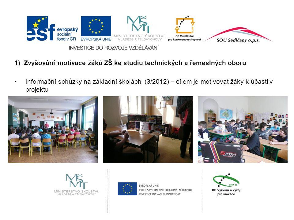 1) Zvyšování motivace žáků ZŠ ke studiu technických a řemeslných oborů Informační schůzky na základní školách (3/2012) – cílem je motivovat žáky k účasti v projektu
