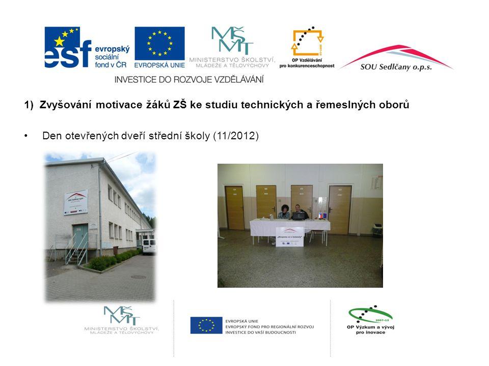 1) Zvyšování motivace žáků ZŠ ke studiu technických a řemeslných oborů Den otevřených dveří střední školy (11/2012)
