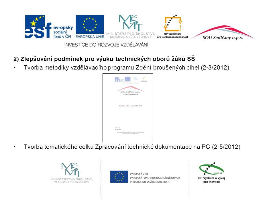 2) Zlepšování podmínek pro výuku technických oborů žáků SŠ Tvorba metodiky vzdělávacího programu Zdění broušených cihel (2-3/2012), Tvorba tematického celku Zpracování technické dokumentace na PC (2-5/2012)