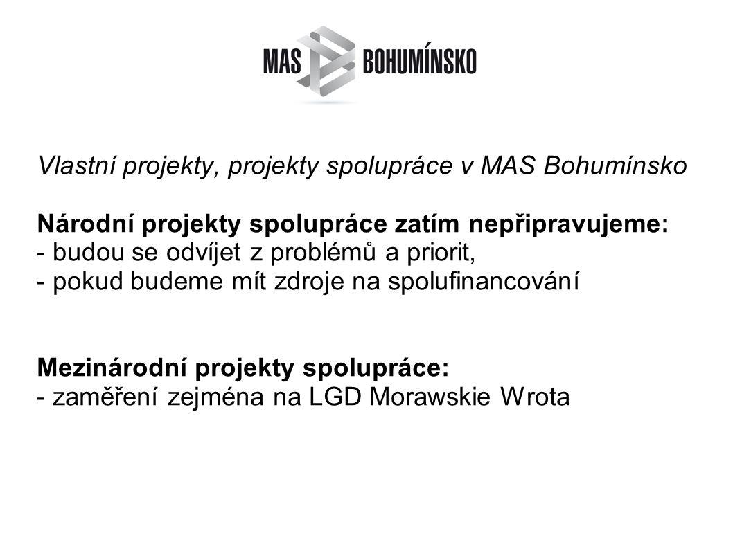 Vlastní projekty, projekty spolupráce v MAS Bohumínsko Národní projekty spolupráce zatím nepřipravujeme: - budou se odvíjet z problémů a priorit, - pokud budeme mít zdroje na spolufinancování Mezinárodní projekty spolupráce: - zaměření zejména na LGD Morawskie Wrota