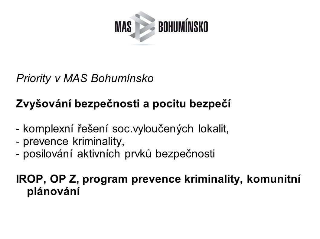 Priority v MAS Bohumínsko Zvyšování bezpečnosti a pocitu bezpečí - komplexní řešení soc.vyloučených lokalit, - prevence kriminality, - posilování aktivních prvků bezpečnosti IROP, OP Z, program prevence kriminality, komunitní plánování