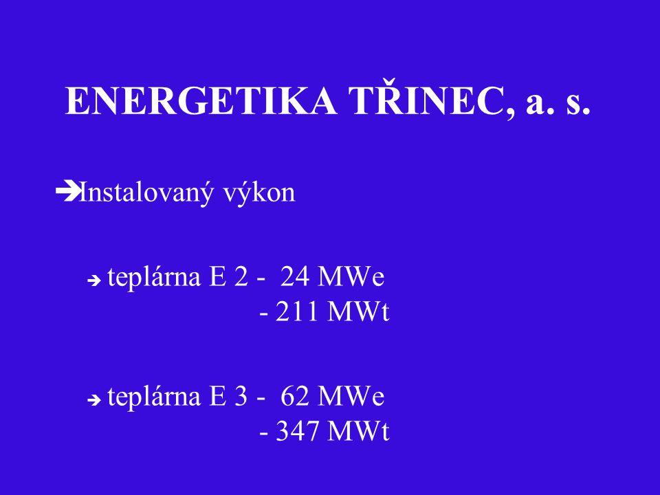 ENERGETIKA TŘINEC, a. s.  Instalovaný výkon  teplárna E 2 - 24 MWe - 211 MWt  teplárna E 3 - 62 MWe - 347 MWt