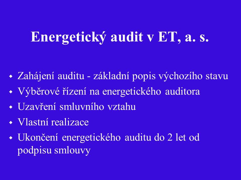 Energetický audit v ET, a. s.  Zahájení auditu - základní popis výchozího stavu  Výběrové řízení na energetického auditora  Uzavření smluvního vzta