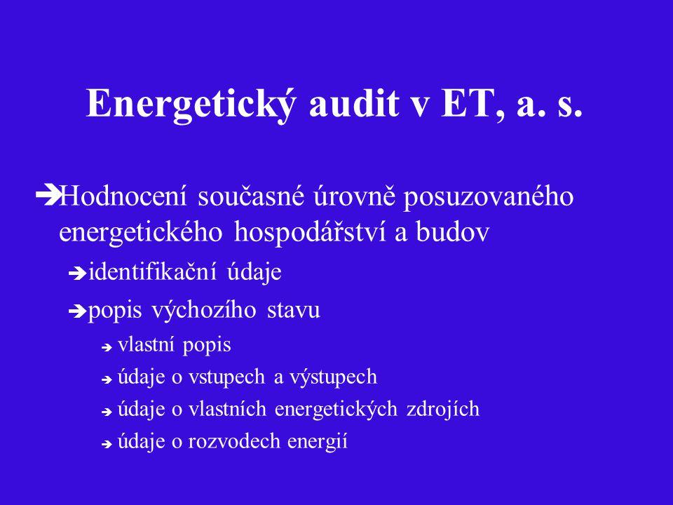 Energetický audit v ET, a. s.  Hodnocení současné úrovně posuzovaného energetického hospodářství a budov  identifikační údaje  popis výchozího stav