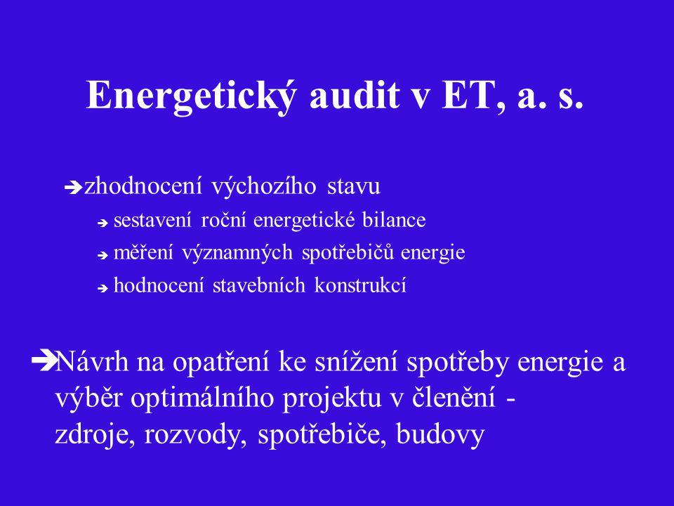 Energetický audit v ET, a. s.  zhodnocení výchozího stavu  sestavení roční energetické bilance  měření významných spotřebičů energie  hodnocení st