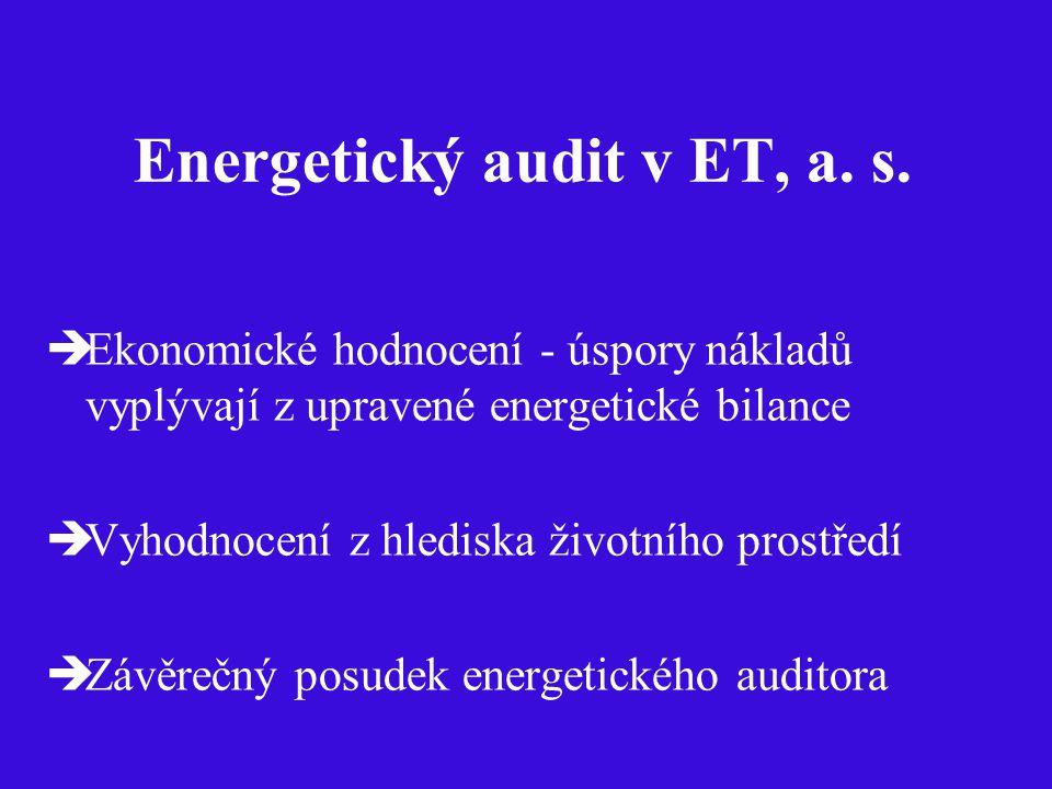 Energetický audit v ET, a. s.  Ekonomické hodnocení - úspory nákladů vyplývají z upravené energetické bilance  Vyhodnocení z hlediska životního pros