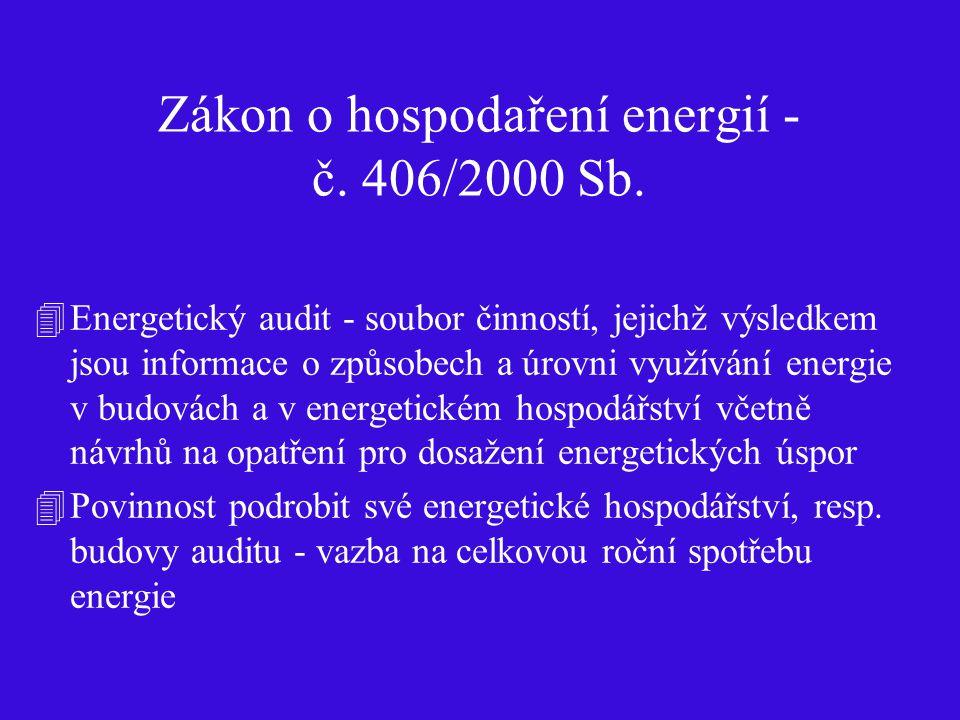 Zákon o hospodaření energií - č. 406/2000 Sb. 4Energetický audit - soubor činností, jejichž výsledkem jsou informace o způsobech a úrovni využívání en
