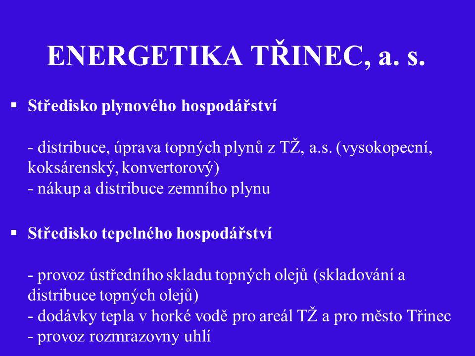 ENERGETIKA TŘINEC, a. s.  Středisko plynového hospodářství - distribuce, úprava topných plynů z TŽ, a.s. (vysokopecní, koksárenský, konvertorový) - n