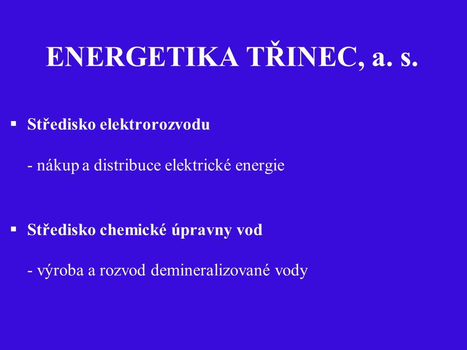 ENERGETIKA TŘINEC, a. s.  Středisko elektrorozvodu - nákup a distribuce elektrické energie  Středisko chemické úpravny vod - výroba a rozvod deminer