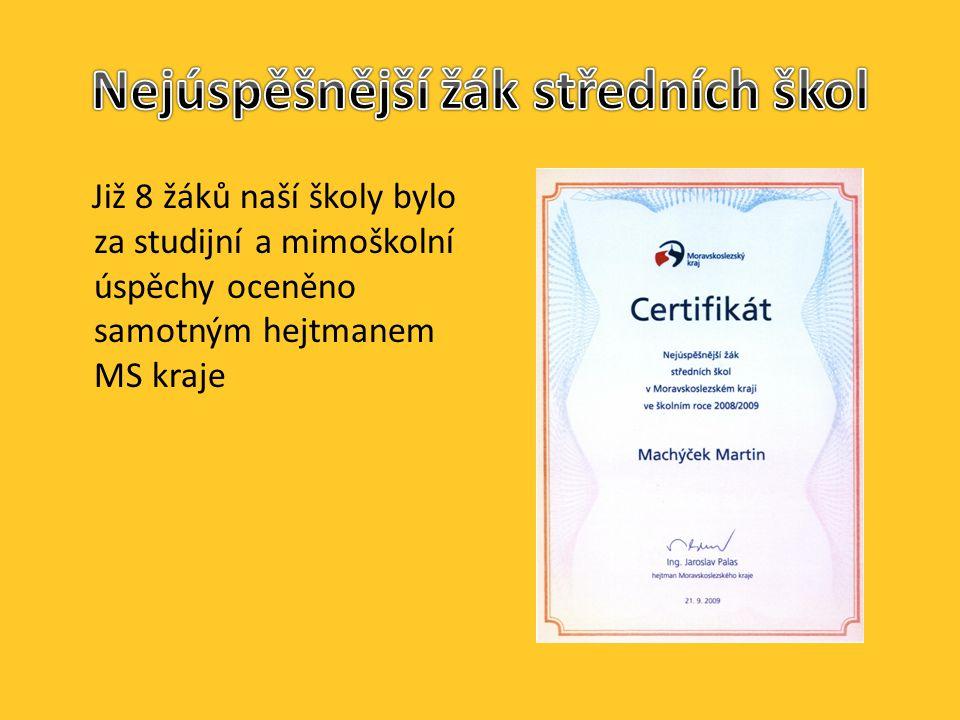 Již 8 žáků naší školy bylo za studijní a mimoškolní úspěchy oceněno samotným hejtmanem MS kraje