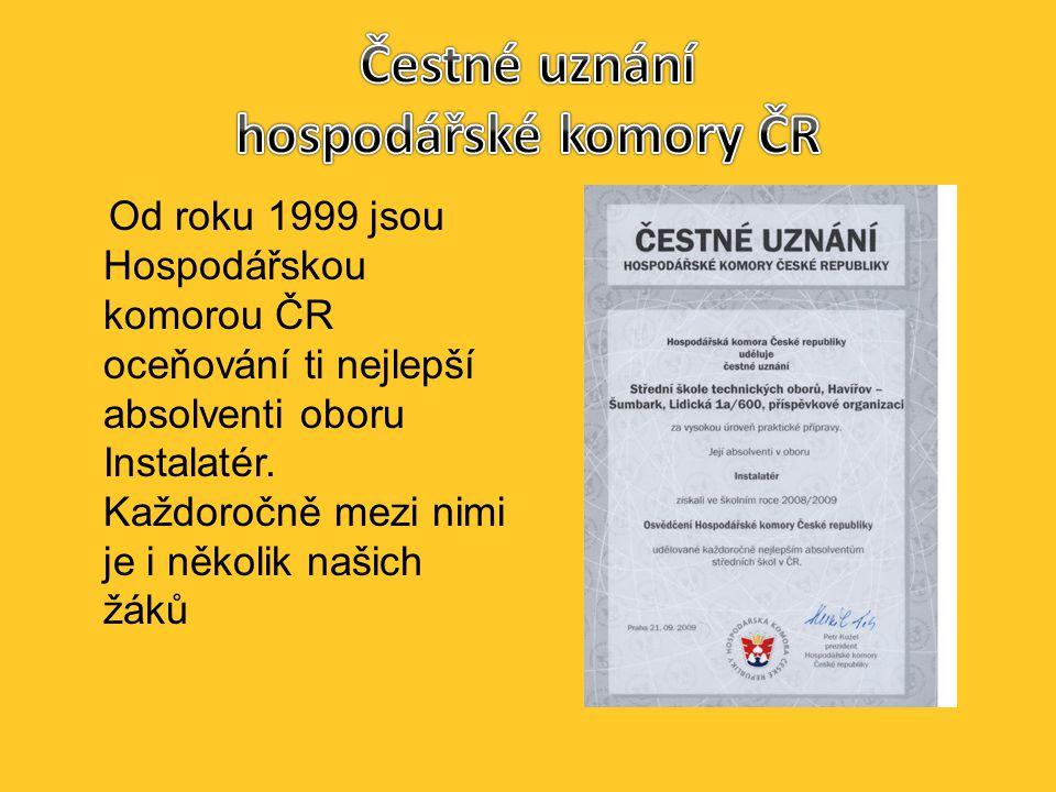 Od roku 1999 jsou Hospodářskou komorou ČR oceňování ti nejlepší absolventi oboru Instalatér.