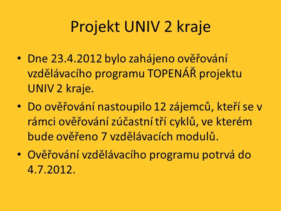Projekt UNIV 2 kraje Dne 23.4.2012 bylo zahájeno ověřování vzdělávacího programu TOPENÁŘ projektu UNIV 2 kraje.