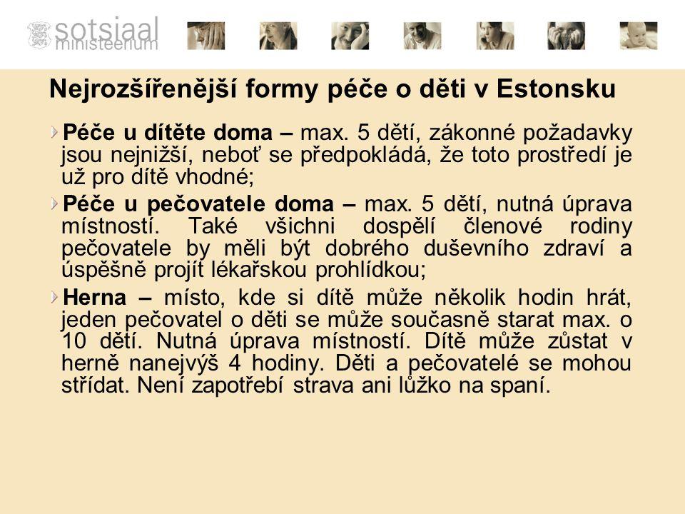 Nejrozšířenější formy péče o děti v Estonsku Péče u dítěte doma – max.