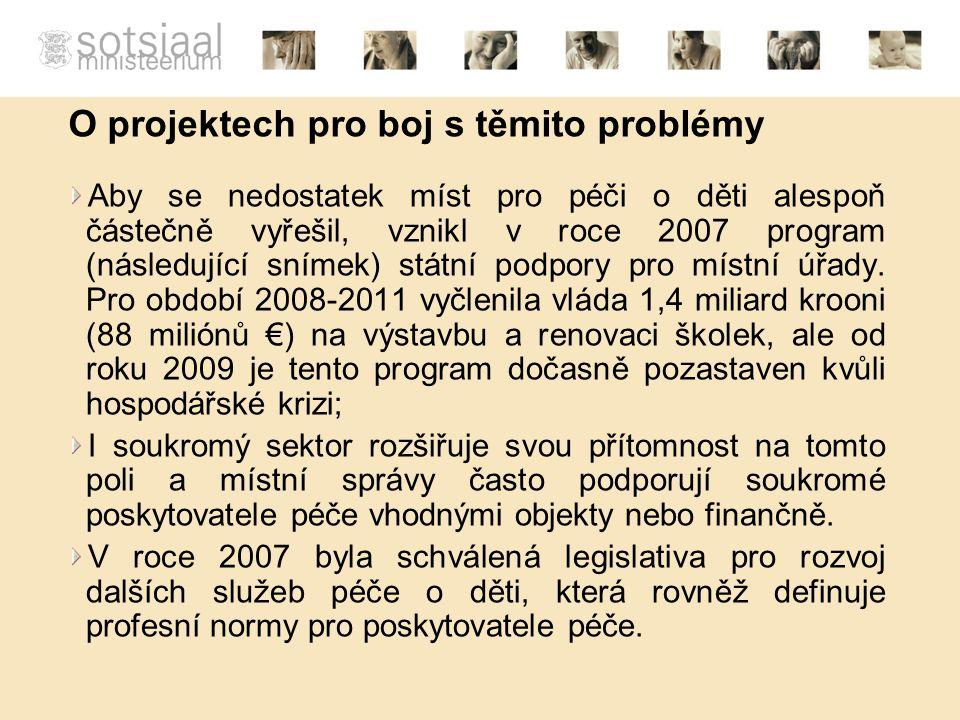 O projektech pro boj s těmito problémy Aby se nedostatek míst pro péči o děti alespoň částečně vyřešil, vznikl v roce 2007 program (následující snímek) státní podpory pro místní úřady.
