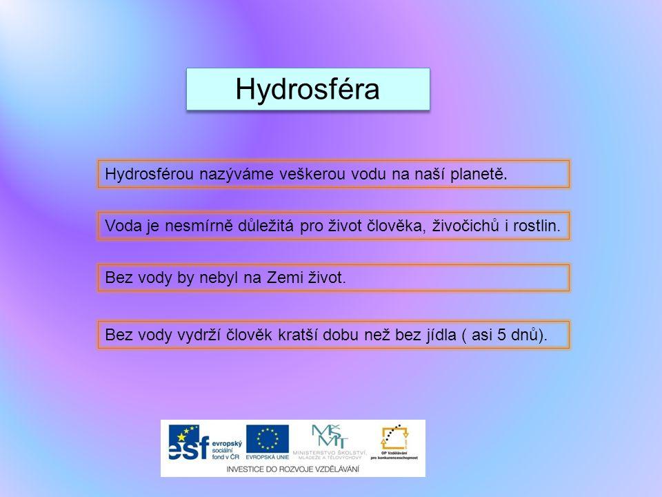 Hydrosféra Hydrosférou nazýváme veškerou vodu na naší planetě. Voda je nesmírně důležitá pro život člověka, živočichů i rostlin. Bez vody by nebyl na