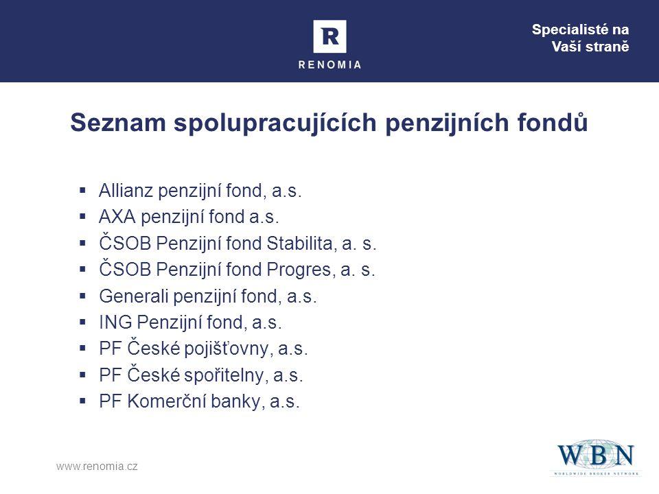 Specialisté na Vaší straně www.renomia.cz Seznam spolupracujících penzijních fondů  Allianz penzijní fond, a.s.