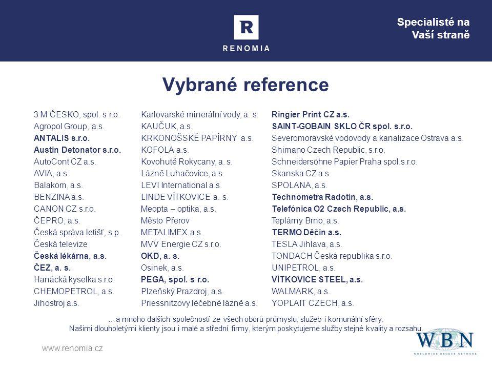 Specialisté na Vaší straně www.renomia.cz Vybrané reference 3 M ČESKO, spol.