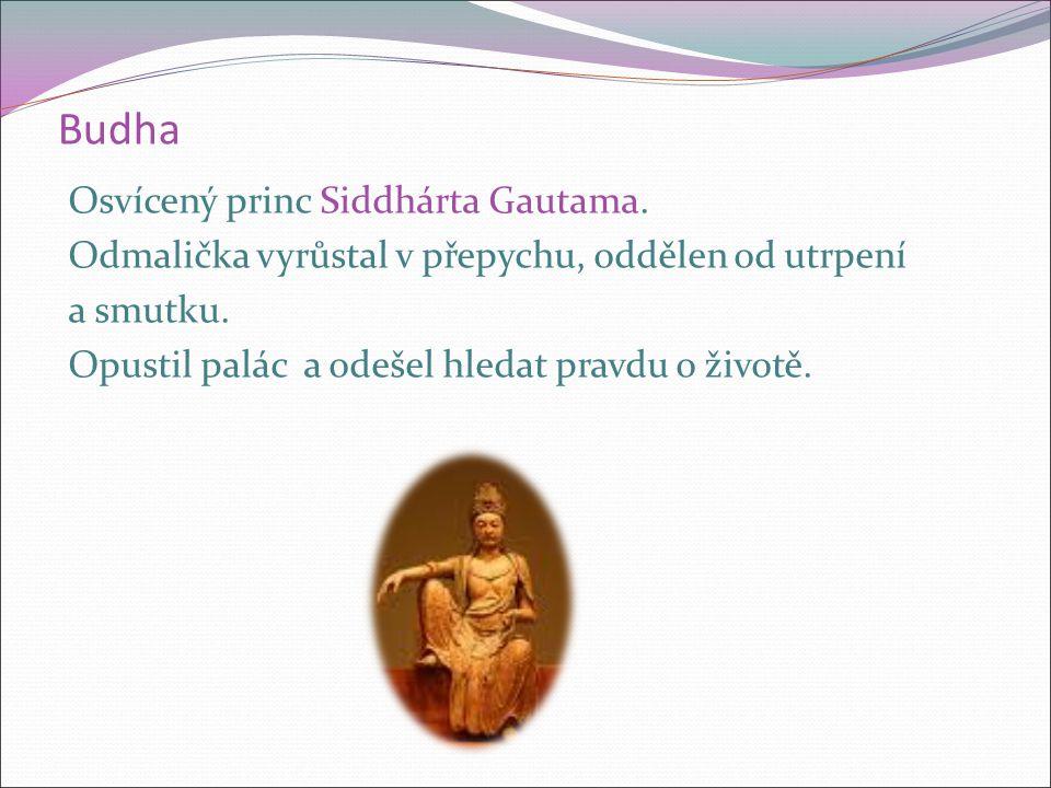 Budha Osvícený princ Siddhárta Gautama. Odmalička vyrůstal v přepychu, oddělen od utrpení a smutku.