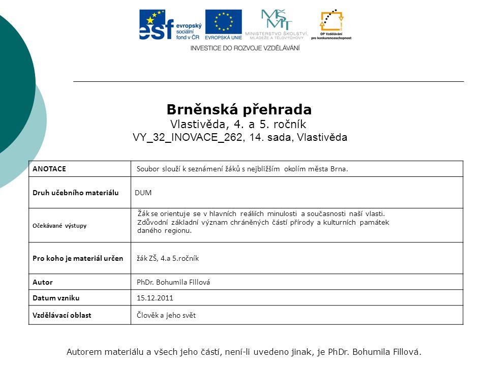Brněnská přehrada Autorem materiálu a všech jeho částí, není-li uvedeno jinak, je PhDr.