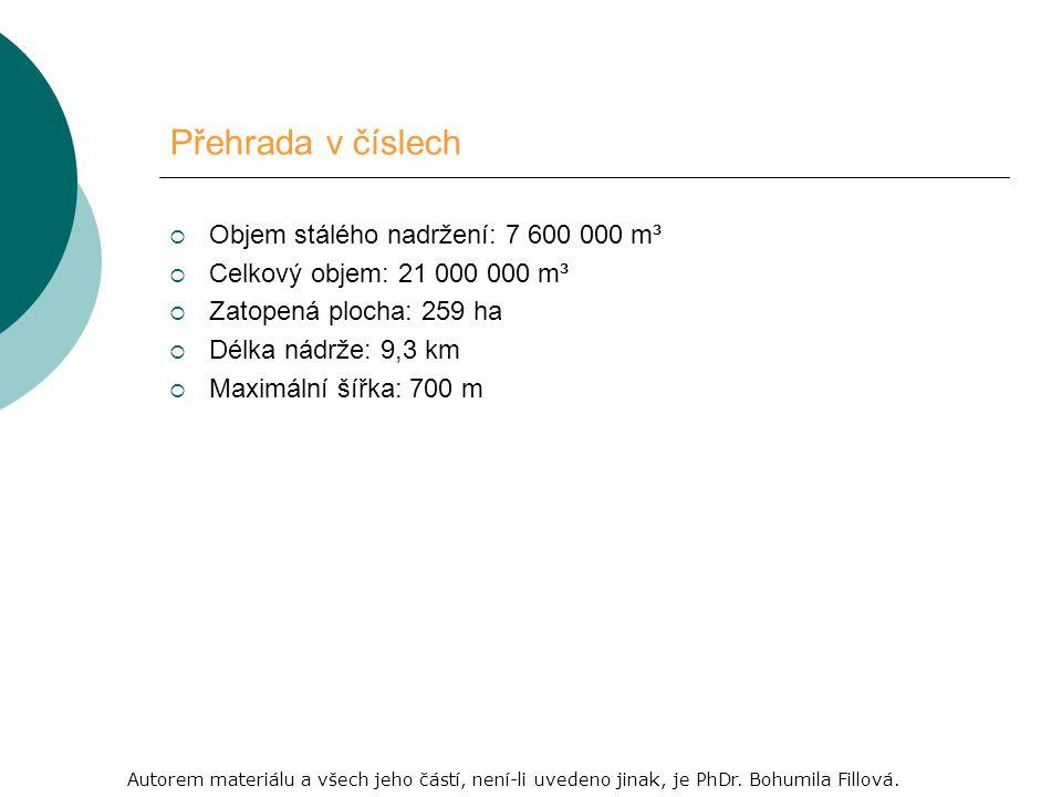 Přehrada v číslech  Objem stálého nadržení: 7 600 000 m³  Celkový objem: 21 000 000 m³  Zatopená plocha: 259 ha  Délka nádrže: 9,3 km  Maximální šířka: 700 m Autorem materiálu a všech jeho částí, není-li uvedeno jinak, je PhDr.