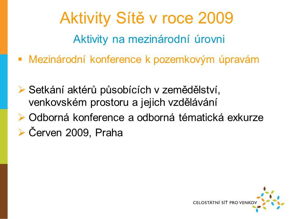 Aktivity Sítě v roce 2009 Aktivity na mezinárodní úrovni  Mezinárodní konference k pozemkovým úpravám  Setkání aktérů působících v zemědělství, venkovském prostoru a jejich vzdělávání  Odborná konference a odborná tématická exkurze  Červen 2009, Praha