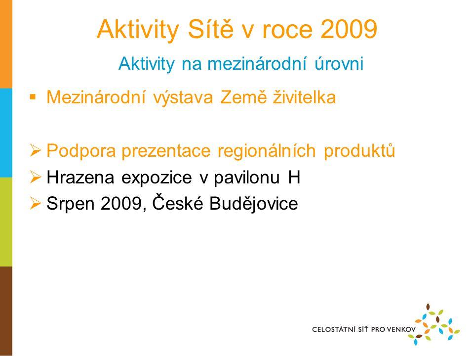 Aktivity Sítě v roce 2009 Aktivity na mezinárodní úrovni  Mezinárodní výstava Země živitelka  Podpora prezentace regionálních produktů  Hrazena exp