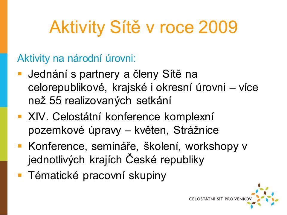 Aktivity Sítě v roce 2009 Aktivity na národní úrovni:  Jednání s partnery a členy Sítě na celorepublikové, krajské i okresní úrovni – více než 55 realizovaných setkání  XIV.