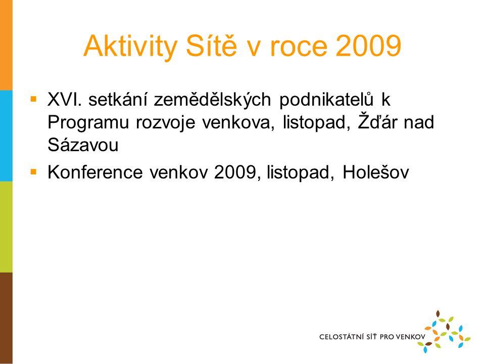 Aktivity Sítě v roce 2009  XVI. setkání zemědělských podnikatelů k Programu rozvoje venkova, listopad, Žďár nad Sázavou  Konference venkov 2009, lis
