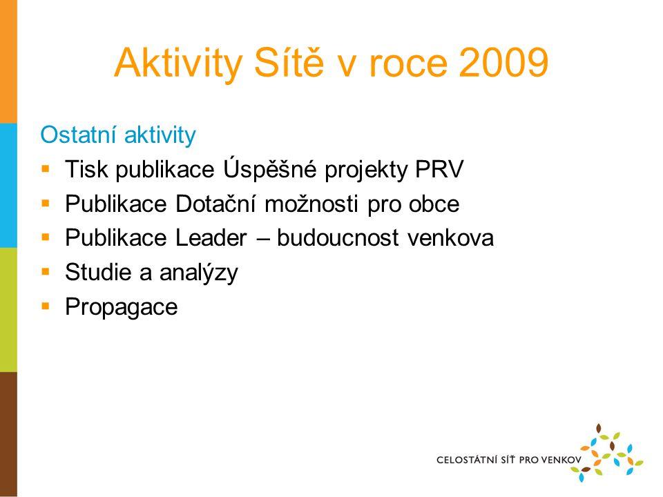 Aktivity Sítě v roce 2009 Ostatní aktivity  Tisk publikace Úspěšné projekty PRV  Publikace Dotační možnosti pro obce  Publikace Leader – budoucnost