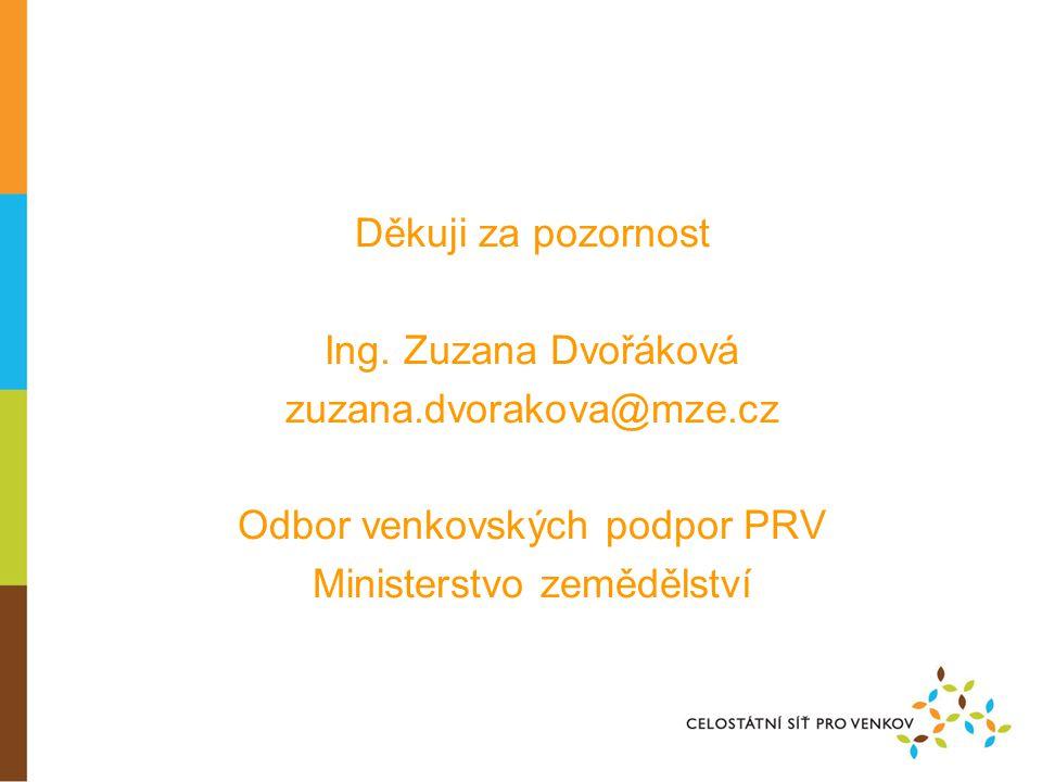 Děkuji za pozornost Ing. Zuzana Dvořáková zuzana.dvorakova@mze.cz Odbor venkovských podpor PRV Ministerstvo zemědělství