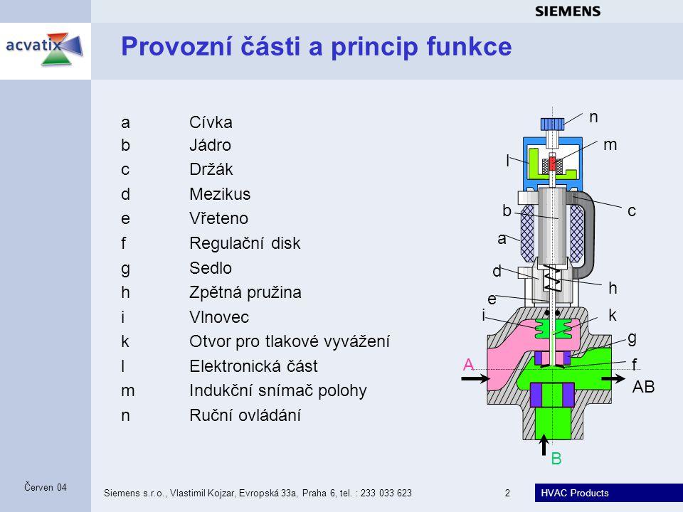 HVAC Products Siemens s.r.o., Vlastimil Kojzar, Evropská 33a, Praha 6, tel. : 233 033 6232 Červen 04 Provozní části a princip funkce n m l ki h g f e