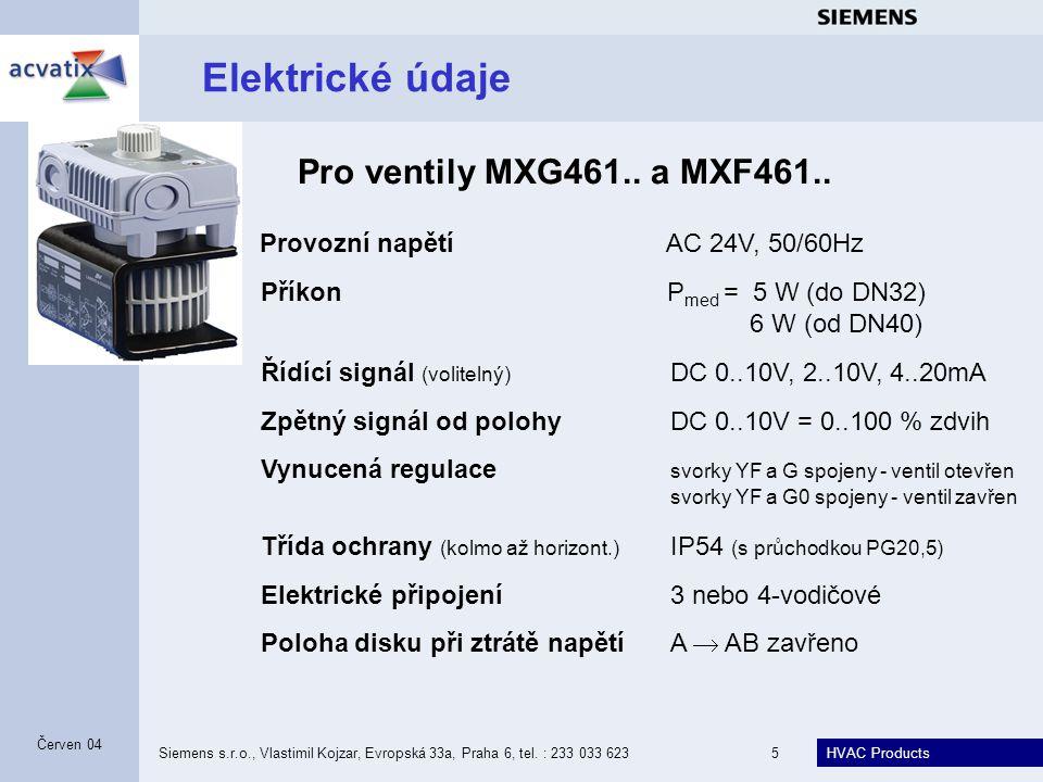 HVAC Products Siemens s.r.o., Vlastimil Kojzar, Evropská 33a, Praha 6, tel. : 233 033 6235 Červen 04 Elektrické údaje Provozní napětí AC 24V, 50/60Hz