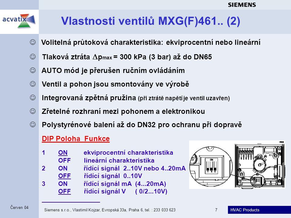 HVAC Products Siemens s.r.o., Vlastimil Kojzar, Evropská 33a, Praha 6, tel. : 233 033 6237 Červen 04 Vlastnosti ventilů MXG(F)461.. (2) Volitelná průt