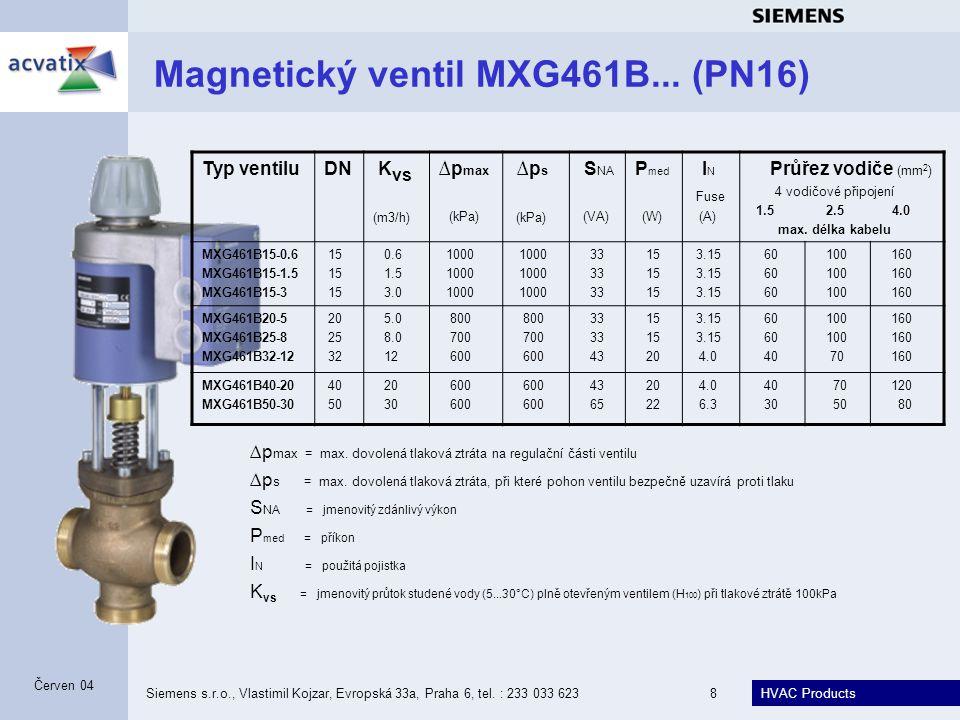 HVAC Products Siemens s.r.o., Vlastimil Kojzar, Evropská 33a, Praha 6, tel. : 233 033 6238 Červen 04 Magnetický ventil MXG461B... (PN16) Typ ventiluDN