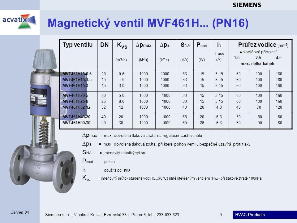 HVAC Products Siemens s.r.o., Vlastimil Kojzar, Evropská 33a, Praha 6, tel. : 233 033 6239 Červen 04 Magnetický ventil MVF461H... (PN16) Typ ventiluDN