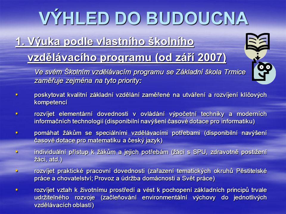 VÝHLED DO BUDOUCNA 1. Výuka podle vlastního školního vzdělávacího programu (od září 2007) vzdělávacího programu (od září 2007) Ve svém Školním vzděláv