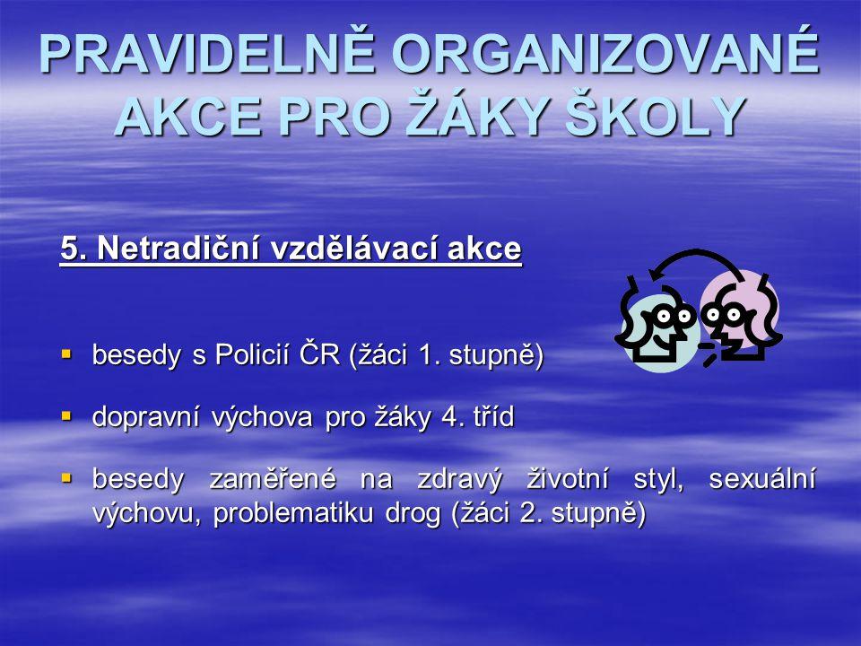 PRAVIDELNĚ ORGANIZOVANÉ AKCE PRO ŽÁKY ŠKOLY 5. Netradiční vzdělávací akce  besedy s Policií ČR (žáci 1. stupně)  dopravní výchova pro žáky 4. tříd 