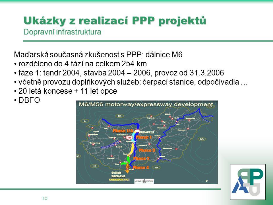10 Ukázky z realizací PPP projektů Dopravní infrastruktura Maďarská současná zkušenost s PPP: dálnice M6 rozděleno do 4 fází na celkem 254 km fáze 1: tendr 2004, stavba 2004 – 2006, provoz od 31.3.2006 včetně provozu doplňkových služeb: čerpací stanice, odpočívadla … 20 letá koncese + 11 let opce DBFO