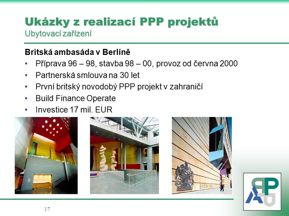 17 Ukázky z realizací PPP projektů Ubytovací zařízení Britská ambasáda v Berlíně Příprava 96 – 98, stavba 98 – 00, provoz od června 2000 Partnerská smlouva na 30 let První britský novodobý PPP projekt v zahraničí Build Finance Operate Investice 17 mil.