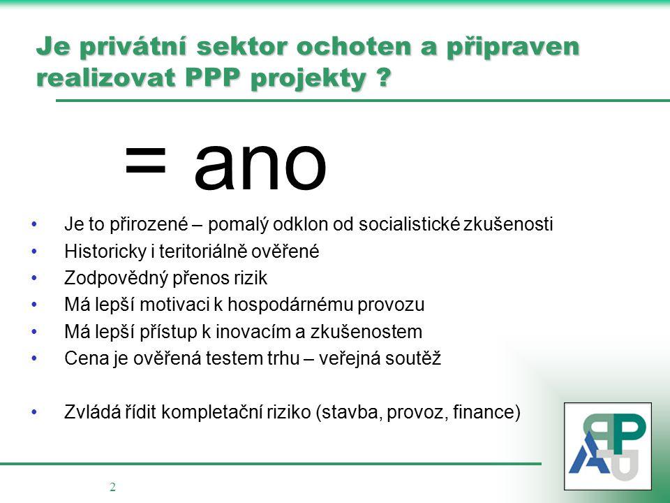 2 Je privátní sektor ochoten a připraven realizovat PPP projekty .