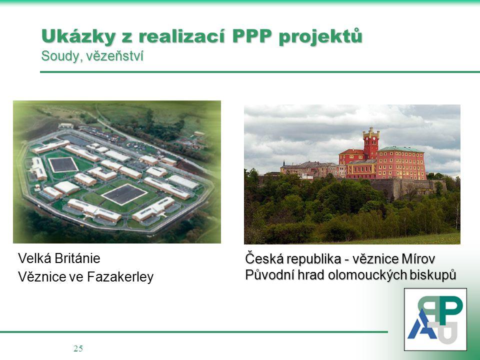 25 Ukázky z realizací PPP projektů Soudy, vězeňství Česká republika - věznice Mírov Původní hrad olomouckých biskupů Velká Británie Věznice ve Fazakerley