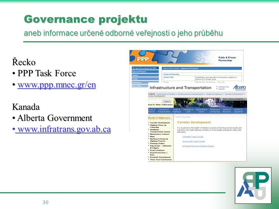 30 Governance projektu aneb informace určené odborné veřejnosti o jeho průběhu Řecko PPP Task Force PPP Task Force www.ppp.mnec.gr/en www.ppp.mnec.gr/enKanada Alberta Government Alberta Government www.infratrans.gov.ab.ca www.infratrans.gov.ab.ca