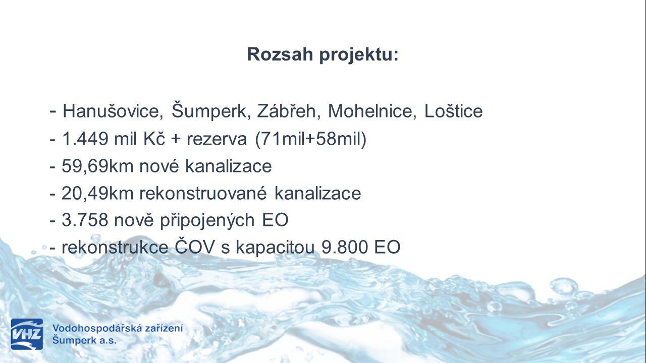 Rozsah projektu: - Hanušovice, Šumperk, Zábřeh, Mohelnice, Loštice - 1.449 mil Kč + rezerva (71mil+58mil) - 59,69km nové kanalizace - 20,49km rekonstr